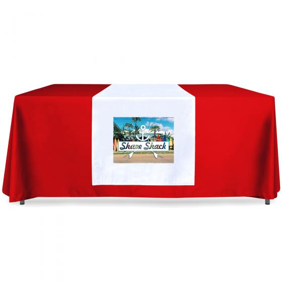 BMPM Printed Table Runner on Red Tablecloth