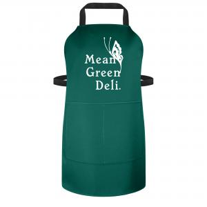 Apron with Logo - Adults and Teens 70cm Size Shown in Green Polycotton