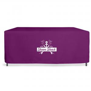 Bespoke trolley covers in brown waterproof fabric and heat transfer logo