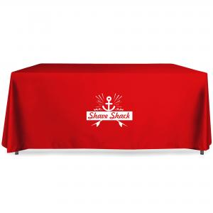 Express Printed Tablecloth in Red Polycotton with White Vinyl Film logo