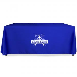Printed Tablecloths in Royal Blue Polycotton fabric with 1-colour vinyl film