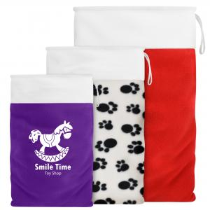 Christmas Sack with Hanging Loop. Shown in High Quality Red Fleece Fabric