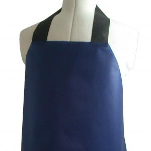 UK Made Low Cost Value Aprons shown here in Blue Fabric with Black Fastening
