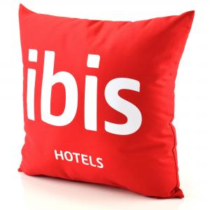 Fabric Branded Logo Cushions shown in red polycotton with 1 colour white logo