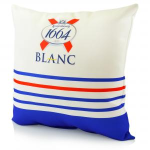 Water Resistant Logo Cushion showing full colour branding, printed edge to edge.