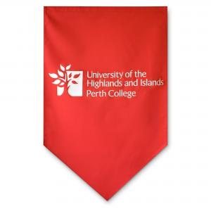 Lectern cover shown here in red polycotton in rectangular portrait & pointed end
