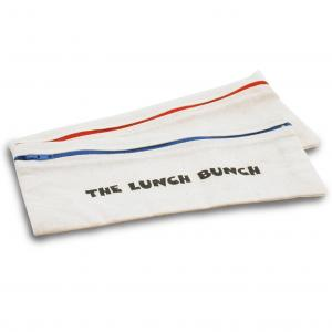 Logo Pencil Cases shown here in natural cotton fabric with contrasting zips