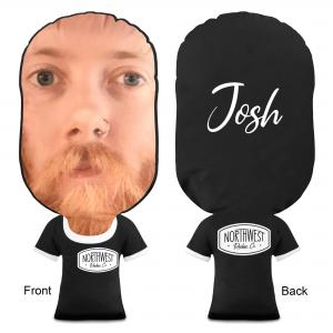 Branded Face Cushion with Shirt - Showing Front and Back