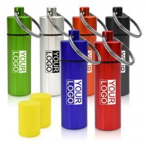 BMPM Earplugs in Coloured Logo Printed Metal Container with split-ring keyring