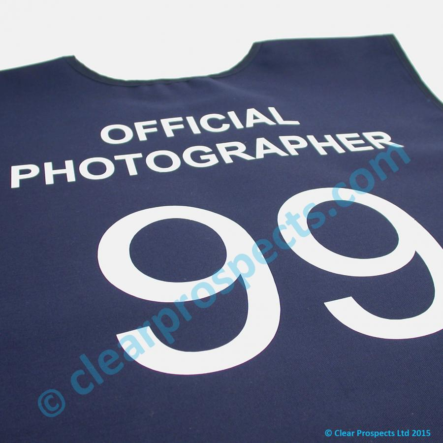 Branding example of a sports bib with 1 colour vinyl film onto the fabric