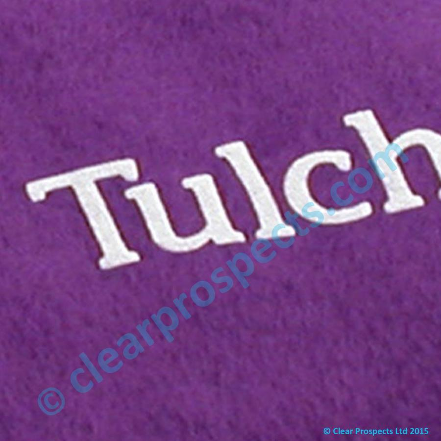 Vinyl flock film used to brand logos onto Fleece Fabric (shown here in white)